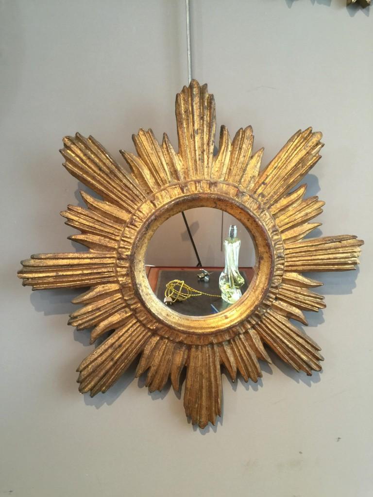 Miroir soleil en bois des ann es 1970 r mi dubois for Miroir soleil bois