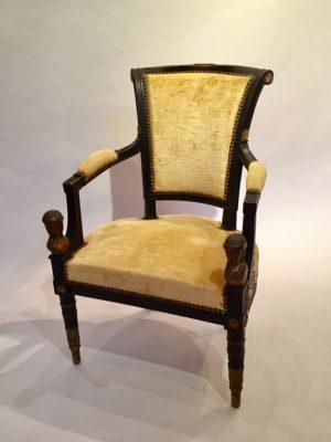 Fauteuil et chaise d'époque Directoire.