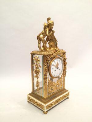 Pendule en bronze et vitres dite «cage» d'époque Napoléon III.