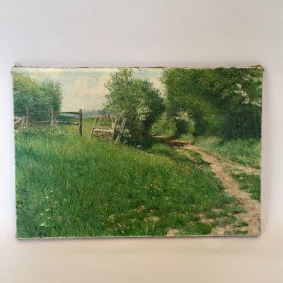 Huile sur toile d'un paysage d'époque début XX ème siècle.