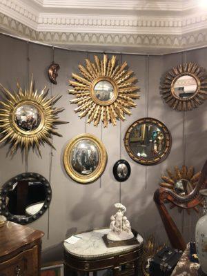 Mur de miroirs soleil des années 1950/1960.