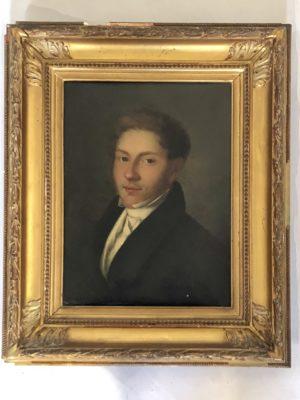 Portrait de jeune homme début XIX éme siècle.