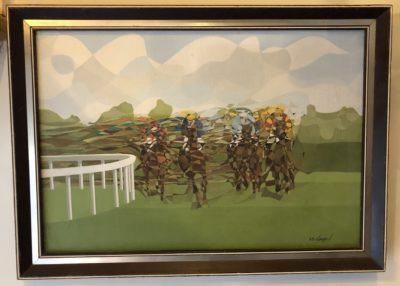 Toile de courses de chevaux signée Douard.