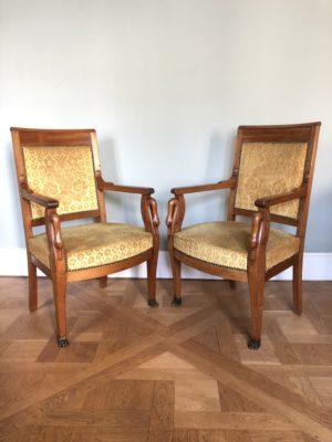 Paire de fauteuil d'époque Empire.
